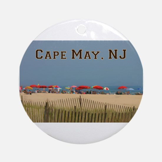 Cape May, NJ Beach Scene Round Ornament