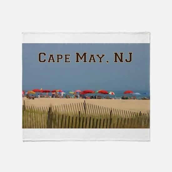 Cape May, NJ Beach Scene Throw Blanket