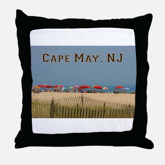 Cape May, NJ Beach Scene Throw Pillow