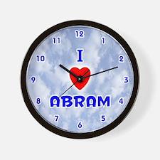 I Love Abram (Blue) Valentine Wall Clock