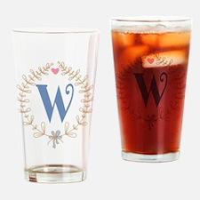 W Monogram Wreath Drinking Glass