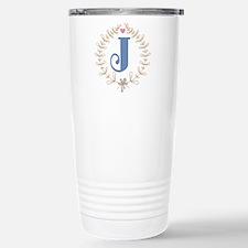 J Monogram Wreath Stainless Steel Travel Mug