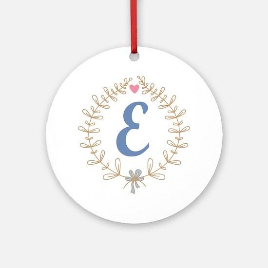 E Monogram Wreath Round Ornament