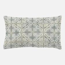 French Vintage Damask Pattern Tile Gre Pillow Case