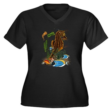 Seahorses Women's Plus Size V-Neck Dark T-Shirt