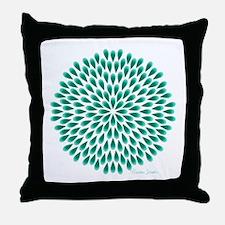 Aqua Peacock Mandala Throw Pillow