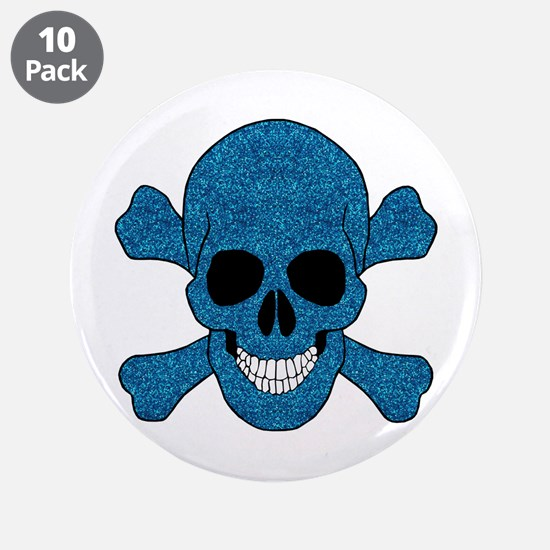 "Faux Blue Glitter Skull And Crossbones 3.5"" Button"