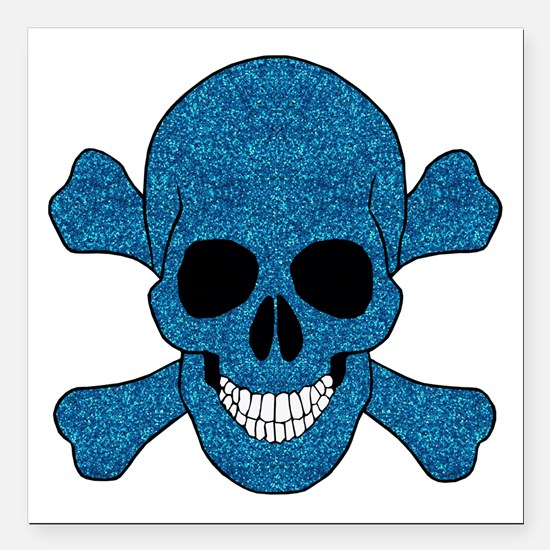 Faux Blue Glitter Skull And Crossbones Square Car
