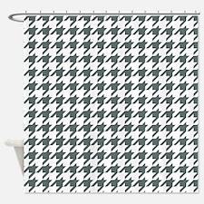 Grey, Steel: Houndstooth Checkered Shower Curtain