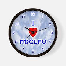 I Love Adolfo (Blue) Valentine Wall Clock