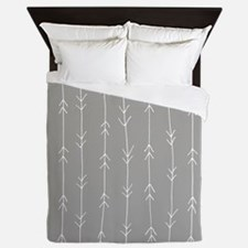 Grey, Fog: Arrows Pattern Queen Duvet