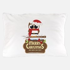 Merry Christmas Owl Pillow Case