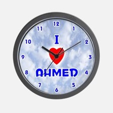 I Love Ahmed (Blue) Valentine Wall Clock