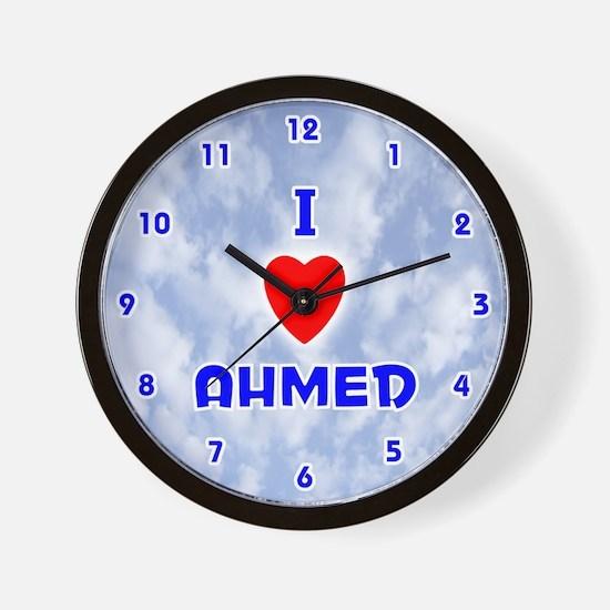 I Love Ahmed (Blue) Valentine Wall Clock