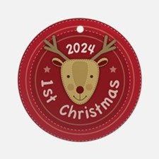 Baby's 1st Christmas 2024 Round Ornament