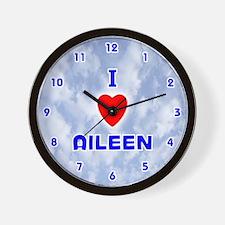 I Love Aileen (Blue) Valentine Wall Clock
