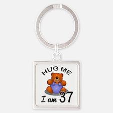 Hug me I am 37 Square Keychain