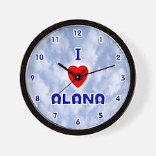 I Love Alana (Blue) Valentine Wall Clock