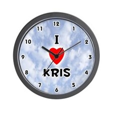 I Love Kris (Black) Valentine Wall Clock