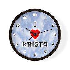 I Love Krista (Black) Valentine Wall Clock