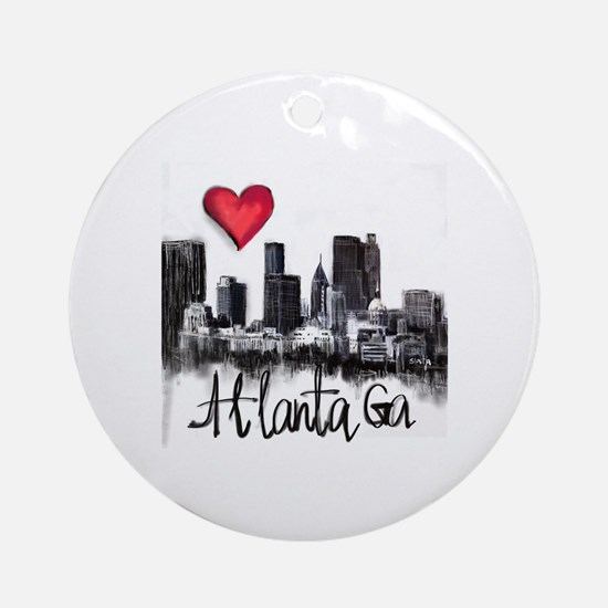 Cute I love georgia Round Ornament