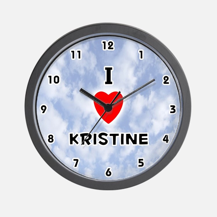 I Love Kristine (Black) Valentine Wall Clock