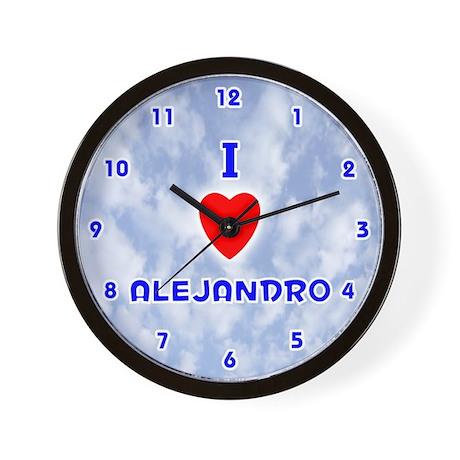 I Love Alejandro (Blue) Valentine Wall Clock