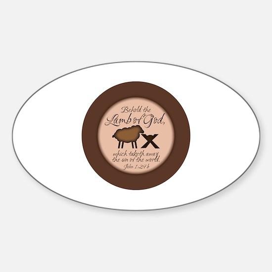 Cute Lamb of god Sticker (Oval)