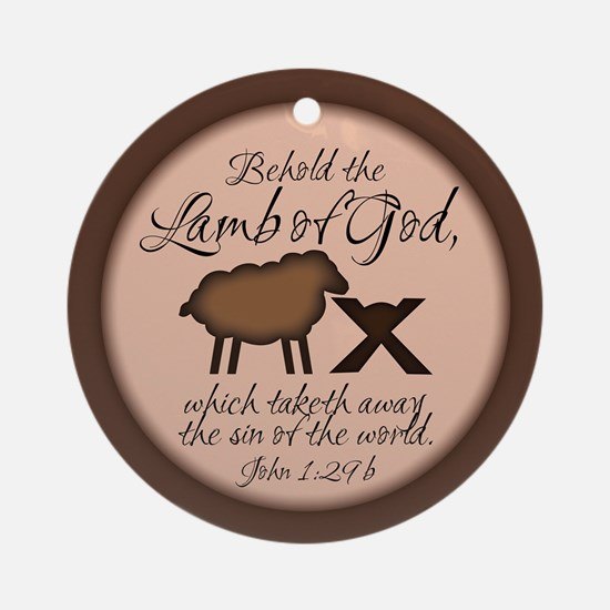 Christmas Behold The Lamb Round Ornament