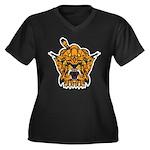 Fierce Tiger Women's Plus Size V-Neck Dark T-Shirt