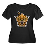 Fierce Tiger Women's Plus Size Scoop Neck Dark T-S