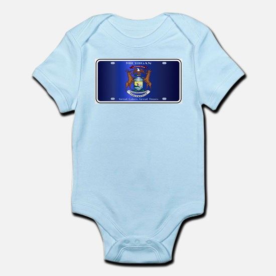 Michigan License Plate Flag Body Suit