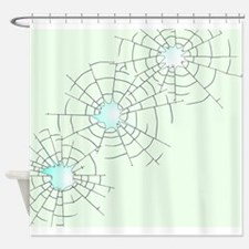 Bullet Holes in Glass Shower Curtain