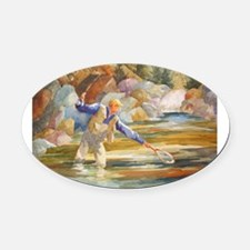 Fishing Oval Car Magnet