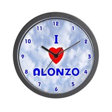 I Love Alonzo (Blue) Valentine Wall Clock