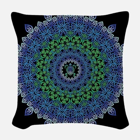 Tribal Turtle Mandala Woven Throw Pillow