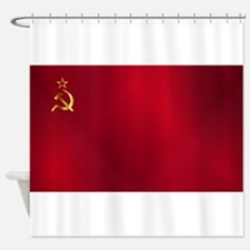 Red Russian Flag Shower Curtain