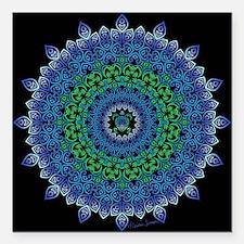 """Tribal Turtle Mandala Square Car Magnet 3"""" x 3"""""""