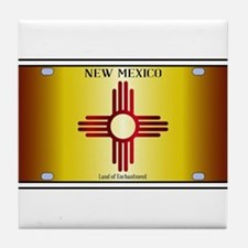 New Mexico Flag License Plate Tile Coaster