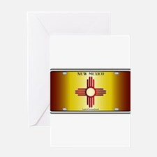 New Mexico Flag License Plate Greeting Cards