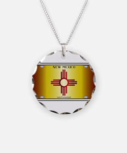 New Mexico Flag License Plat Necklace