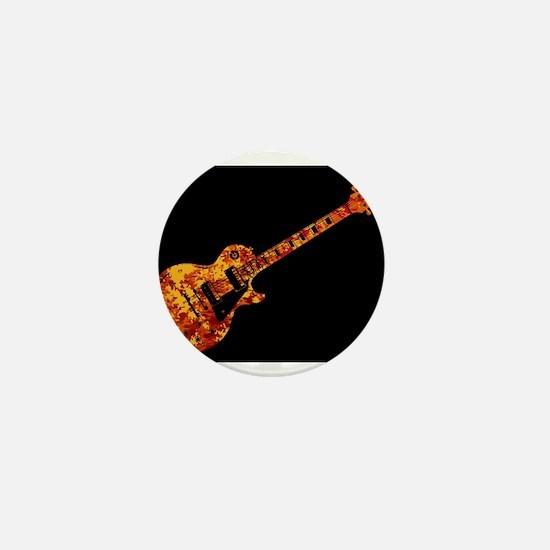 Electric Guitar Flames Mini Button