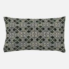 French Vintage Damask Pattern Tile Bla Pillow Case
