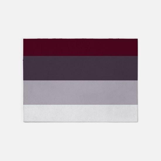 Plum Burgundy Grey Stripes 5'x7'Area Rug