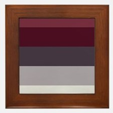 Plum Burgundy Grey Stripes Framed Tile