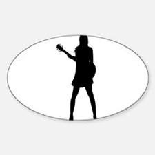 Girl Musician Silhouette Decal