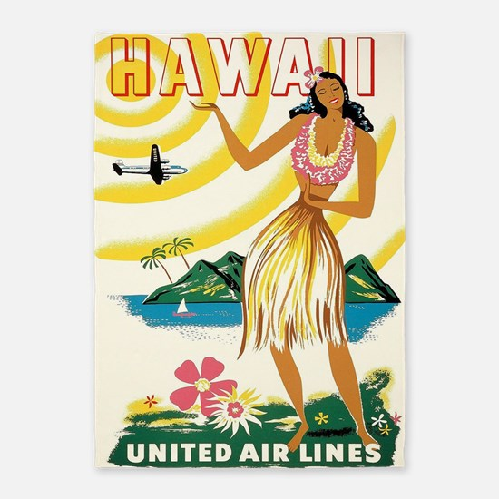Hawaii Hula Dancer Retro Vintage 5'x7'area