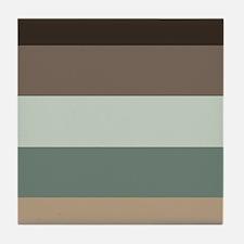 Sage Espresso brown Stripes Tile Coaster