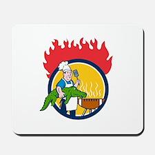 Chef Alligator Spatula BBQ Grill Fire Circle Carto