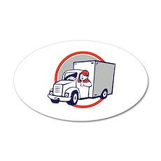 Delivery Van Driver Thumbs Up Circle Cartoon Wall